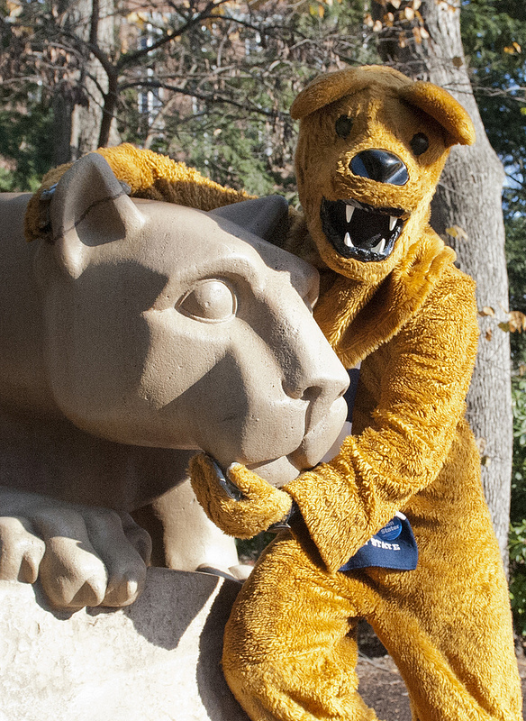 Nittany Lion spends some time at the Nittany Lion Shrine. Photo courtesy of Penn State News.