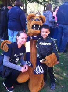 kelly and son with Nittany Lion