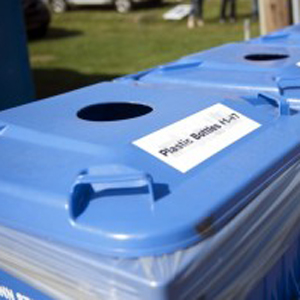 Recycling bins on the University Park campus.