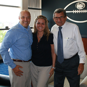 Ivy Moon-Rumsey with her husband and Joe Paterno.