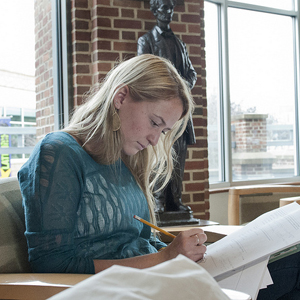 Penn State student prepares for a final exam. Photo courtesy of Penn State News.