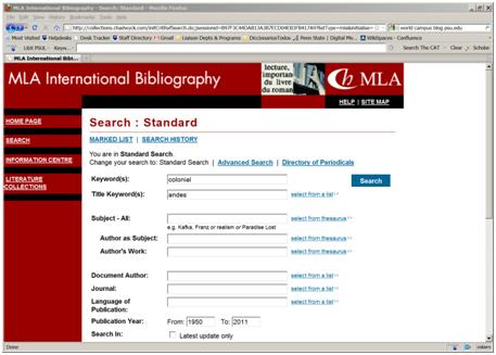 Screenshot of an MLA search page