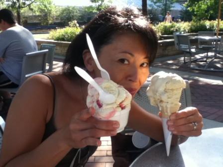 Ayaka tasting the Creamery's delicious ice cream.
