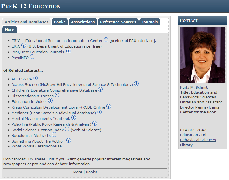 Screenshot of The University Libraries Research Guide.