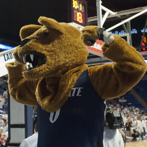 The Nittany Lion wearing his Penn State basketball gear. Image courtesy of Penn State Live.