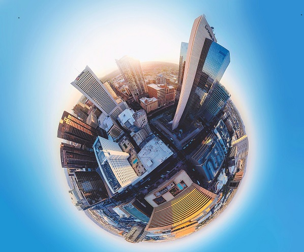 Image of earth with large buildings