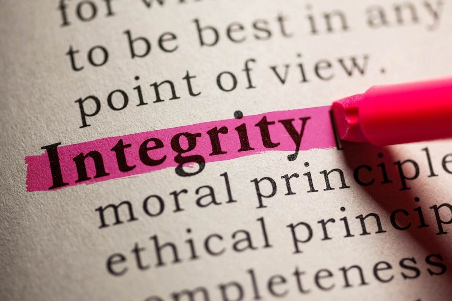 "The word ""integrity"" highlighted"