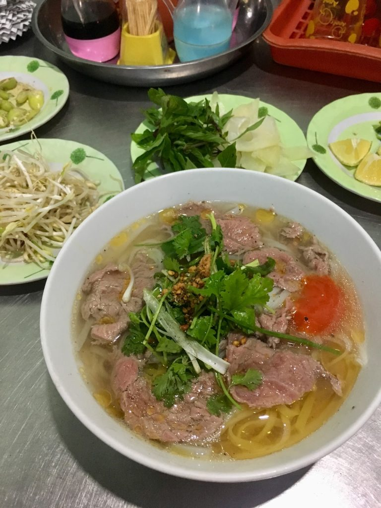 Bowl of local pho in Hoi An, Vietnam