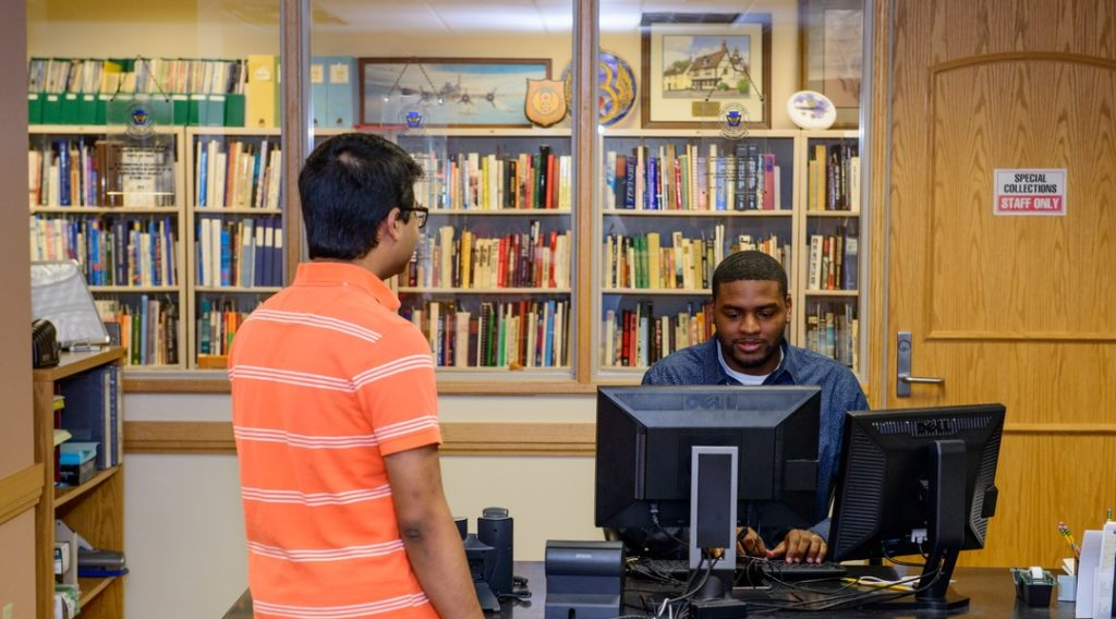 Library assistance desk