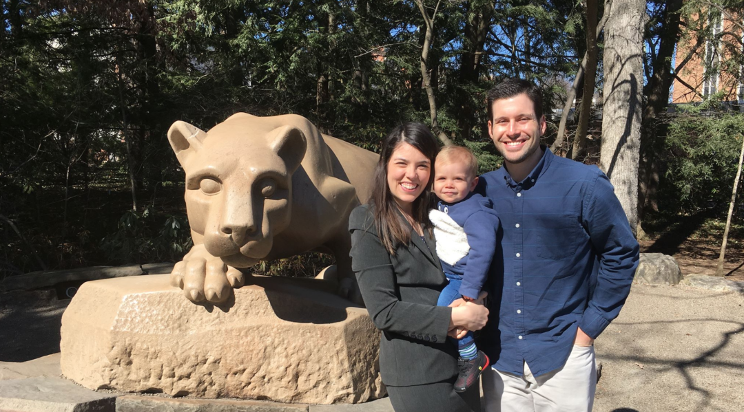 Adriana Salmon and her family at the lion shrine